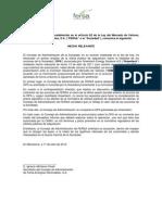Fersa Valoración preliminar del Consejo de Administración respecto de la oferta pública de adquisición. 2012