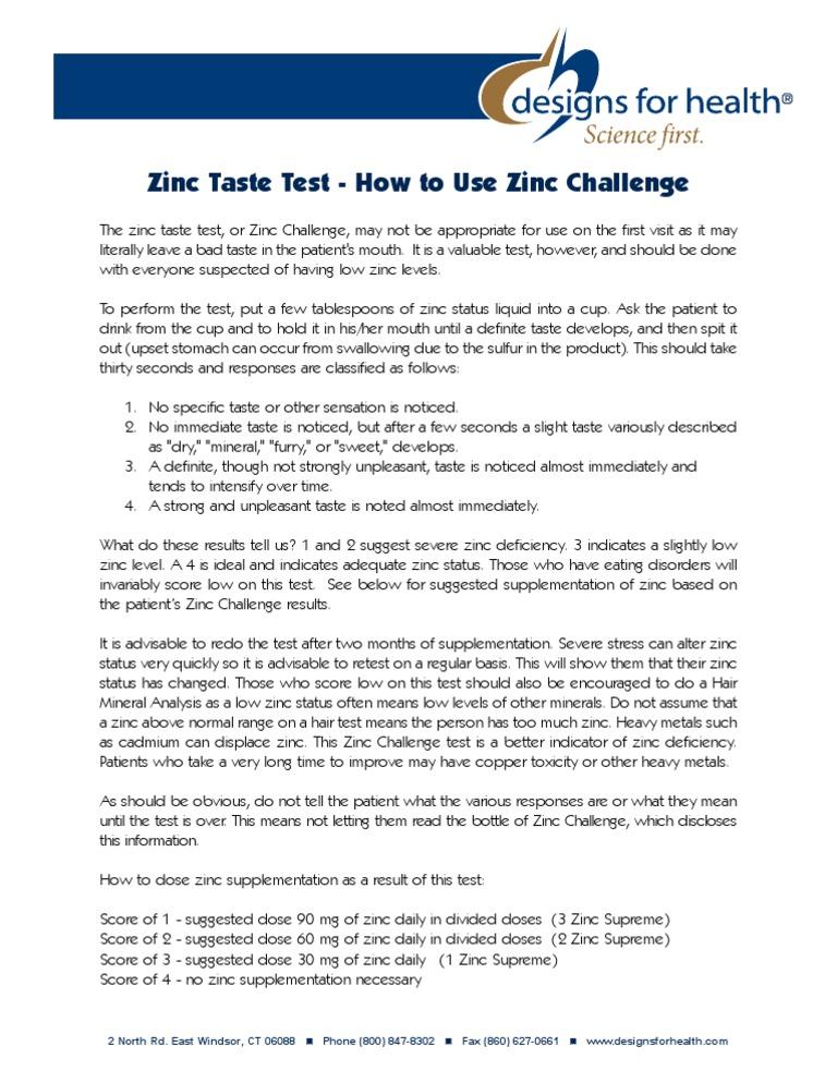 Zinc Challenge Zinc Taste