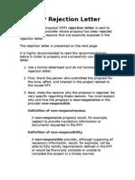 RFP Rejection Letter