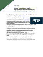 2010 Prioridades de Investigaciones en Equidad en Salud