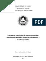 Padrões nas associações de macroinvertebrados bentónicos de diferentes habitats na Ria de Aveiro e no estuário do Mira
