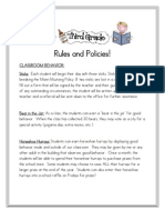 Third Grade Rules and Policies Plus Behavior Plan