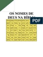 OS NOMES DE DEUS NA BÍBLIA
