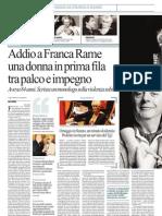 La morte di Franca Rame