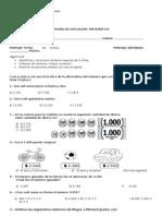 PRUEBA MATEMATICA 3º BASICO ECUACIONES