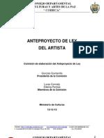 Anteproyecto de Ley Del Artista