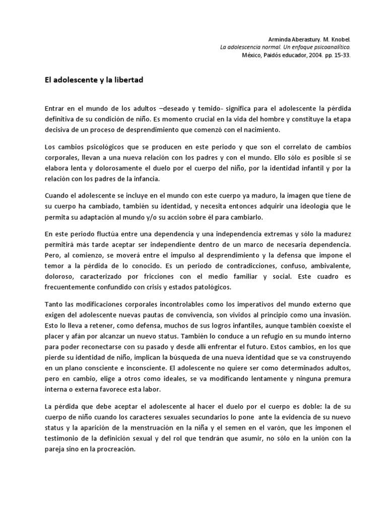 DESCARGAR LA ADOLESCENCIA NORMAL ARMINDA ABERASTURY