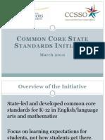 Common Core Standards March 2010