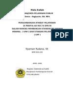 Pengembangan SPM ( Standar Pelayanan Minimal ) dan SPP ( Standar Pelayanan Prima ) di DPD RI