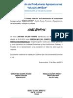 Credencial  Asociacion Productores MUSOQ WIÑAY mayo2013