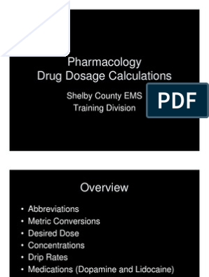 Pharmacology Drug Dosage Calculations   Dose (Biochemistry
