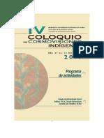 PROGRAMA IV Coloquio de Cosmovisiones Indigenas
