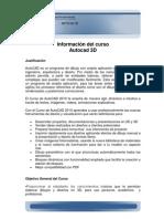 Información del curso Autocad 3D original semilla