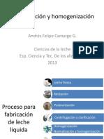 Centrifugación y homogenización
