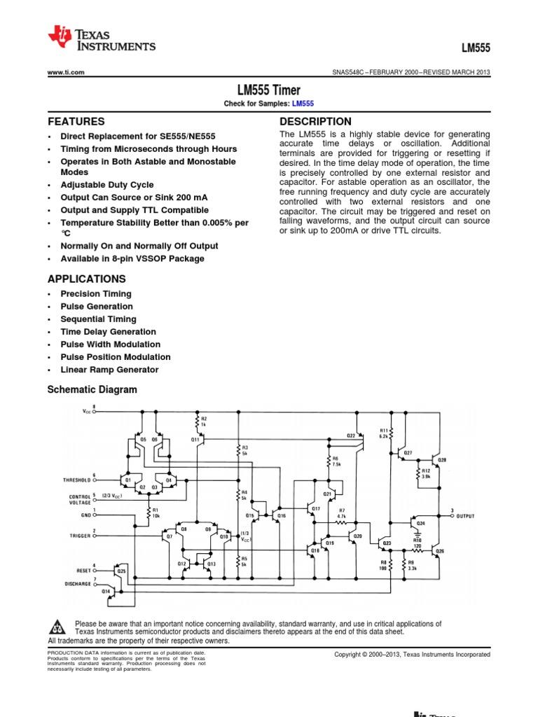 Lm555 Datasheet Electronic Circuits Engineering 555 Timer Ramp Generator