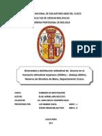 Diversidad y distribución altitudinal de  Anuros en el transecto altitudinal Acjanaco (3500m) – Atalaya (600m), Reserva de Biosfera de Manu, Departamento Cusco
