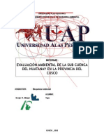 Evaluacion Ambiental de La Subcuenca Del Huatanay, Cusco, Cusco.