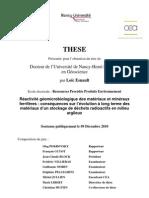 Esnault L. Réactivité géomicrobiologique des matériaux et minéraux ferrifères