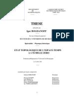 Bogdanoff I. Etat Topologique De L'Espace-Temps A L'Echelle Zero