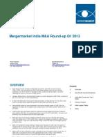 India MA RoundUp Q1 2013