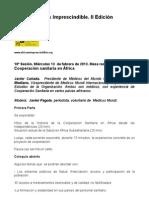"""Guión de la sesión 10, """"Cooperación sanitaria en África"""". Impartida por Javier Cañada y Carlos Mediano"""