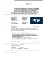 Project Manager CV Example 4
