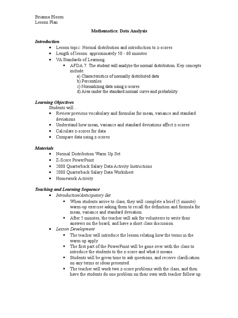 worksheet Z-score Worksheet data analysis lesson plan normal distribution standard score