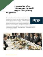 Zapatero Garantiza a Los Grandes Inversores de Wall Street