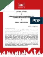 Elmar Thaler (SSB) Lettera Aperta a Paolo Campostrini