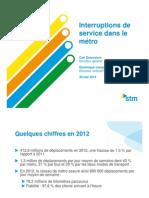 STM métro reliability, May 2013