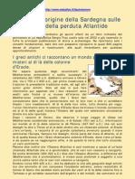 Cercando L'Origine Della Sardegna Sulle Tracce Della Perduta Atlantide