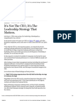 It's Not the CEO, It's the Leadership Strategy That Matters