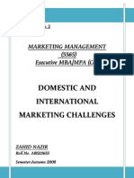 Domestic & International Marketing Challenges