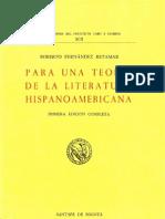 Para una teoría de la literatura hispanoamericana - Roberto Fernandez