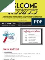 Church Bulletin for May 31 & June 2, 2013