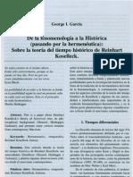 De La Fenomenologia a La Historica (Pasando Por La Hermeneutica) Sobre La Teoria Del Tiempo Historico de Reinhart Koselleck