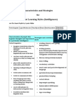 Characteristics and Strategies-Learning Styles