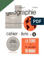 Géographie Certificat d'Etudes La Terre et les cinq parties du Monde Valette