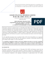 Goldin Financial / Bon Pasteur acquisition / HKex public filing