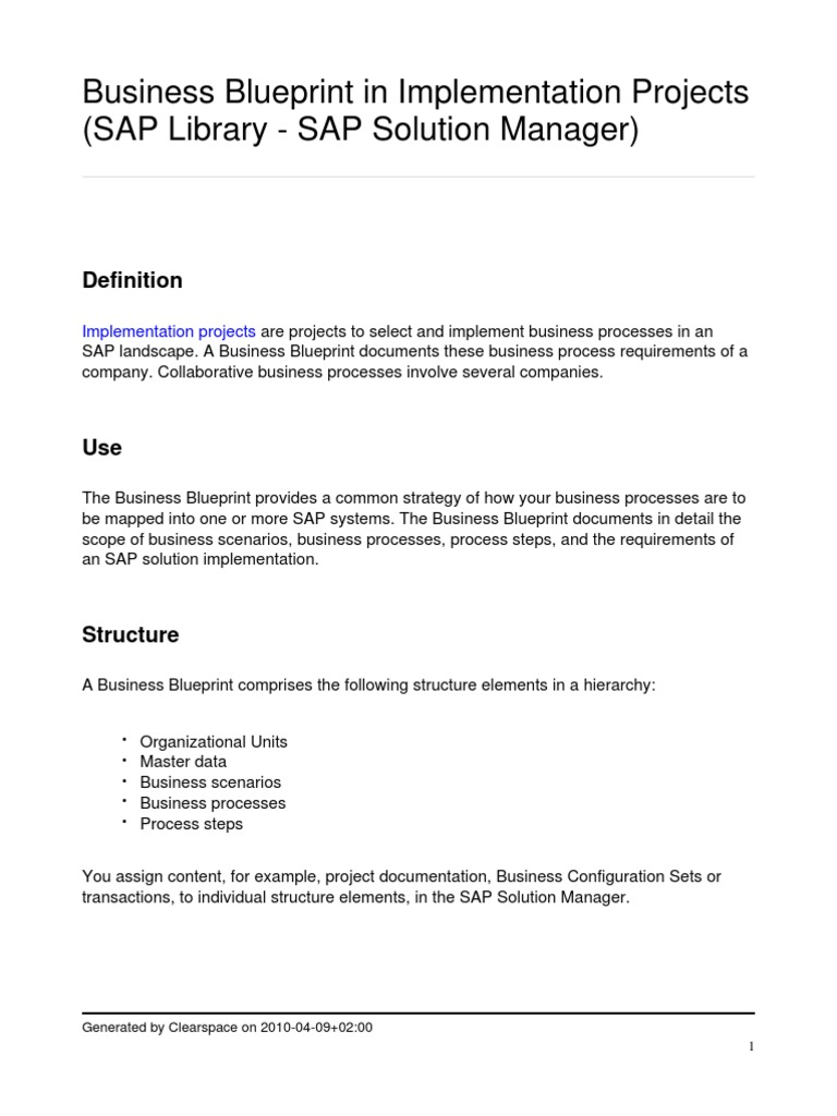 Business blueprint in sap implementation business process business blueprint in sap implementation business process implementation malvernweather Image collections