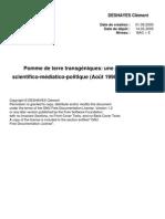 Árpád Pusztai - Pomme de terre GM, une polémique scientifico-médiatique-politique. par DESHAYES Clément, Université de Paris 7.