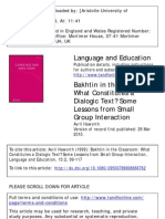 Bakhtin in the Classroom: What Constitutes a Dialogic Text? Some Lessons from Small Group Interaction