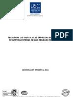 PROGRAMA  DE VISITAS A LAS EMPRESAS ENCARGADAS DE GESTIÓN EXTERNA DE LOS RESIDUOS PELIGROSOS