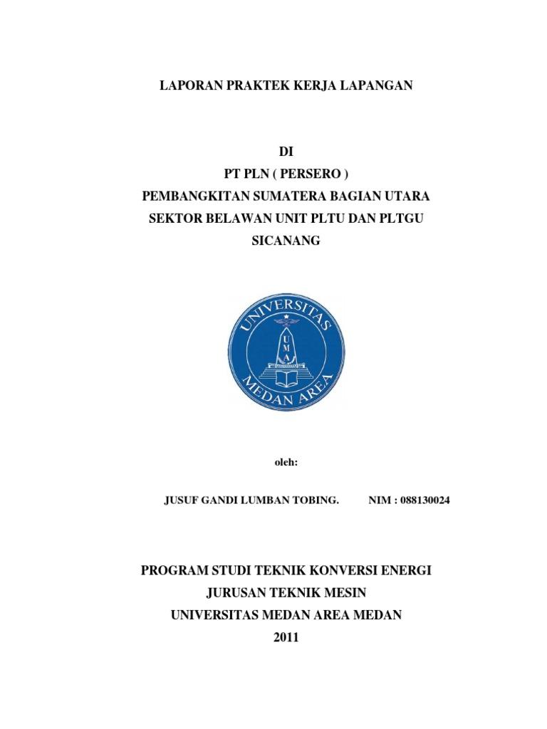 Laporan Praktek Kerja Lapangan Pltgu Pt Pln Persero Sektor Pembangkitan Belawan Medan Sumatera Utara