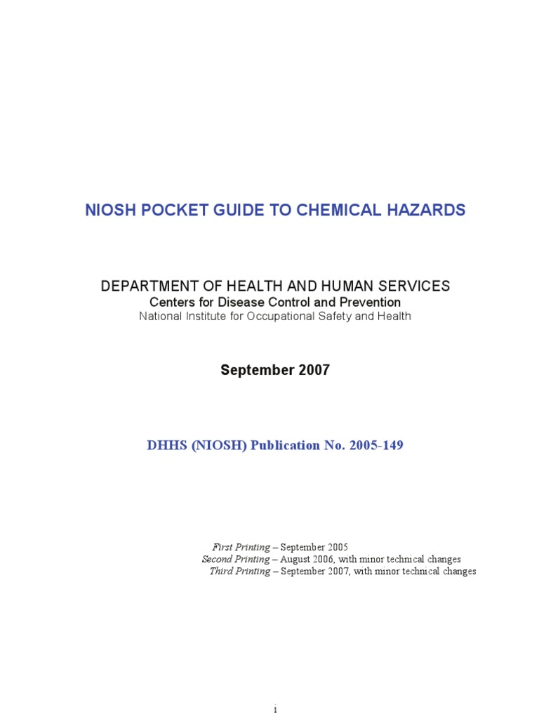 niosh pocket guide safety docx occupational hygiene rh scribd com NIOSH Sound Level Meter NIOSH Sound Level Meter