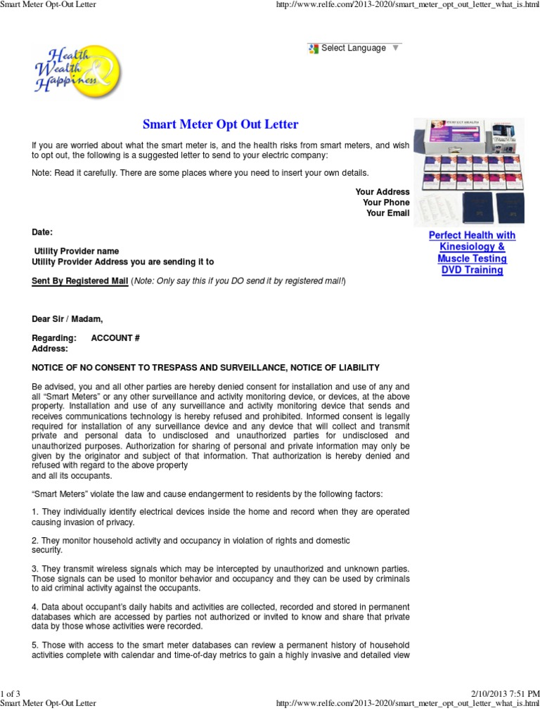 Smart Meter Opt Out Letter.Smart Meter Opt Out Letter Surveillance Telephone Tapping