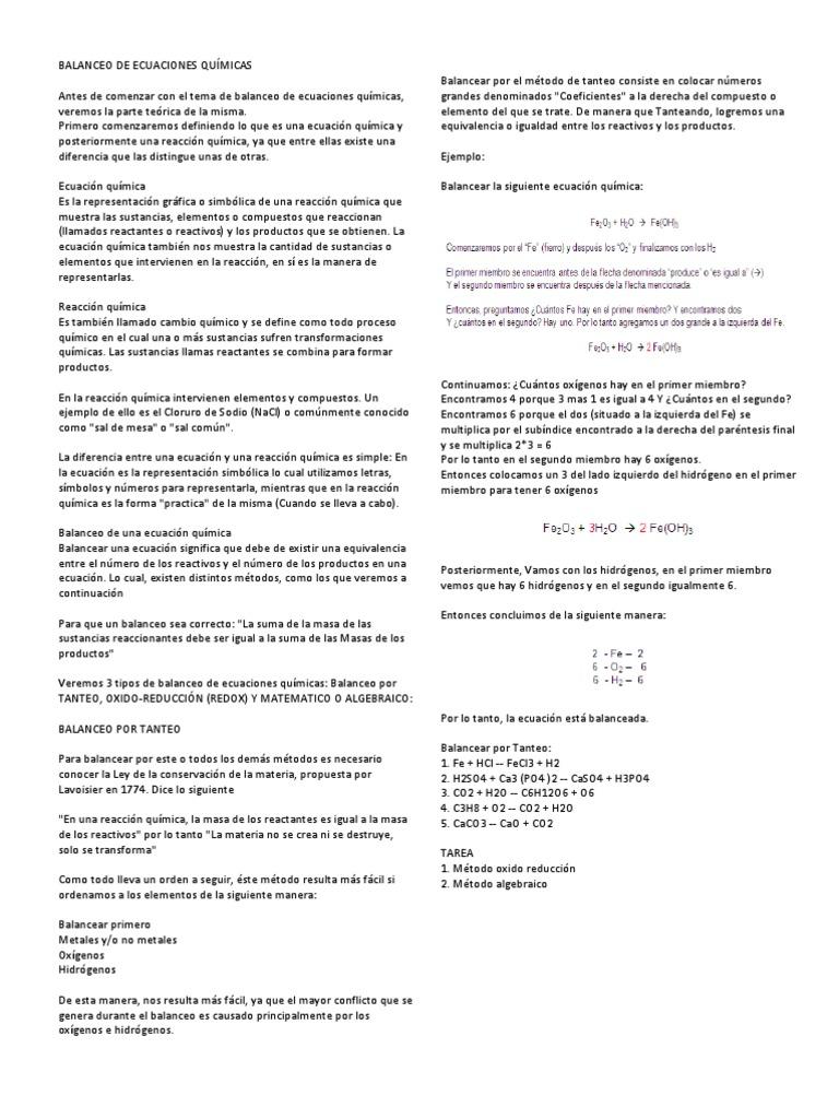 BALANCEO DE ECUACIONES QUÍMICAS y FILOSOFIA