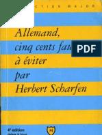 Herbert Scharfen Allemand Cinq Cents Fautes a Eviter Avec Exercices Corriges Presses Universitaires de France PUF 2004