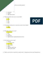 Questionnaire of Ice Cream Survey