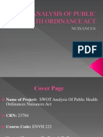SWOT Analysis Public Health Ordinance